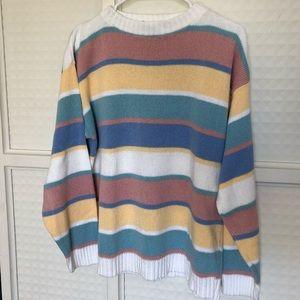 Vintage Pastel Stripe Drop Shoulder Pullover